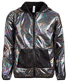 Ideology Big Girls Plus Hooded Metallic & Mesh Windbreaker Jacket, Created for Macy's