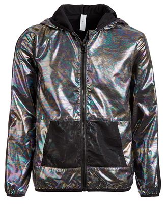 Ideology Toddler Girls Hooded Metallic & Mesh Windbreaker Jacket, Created for Macy's $23