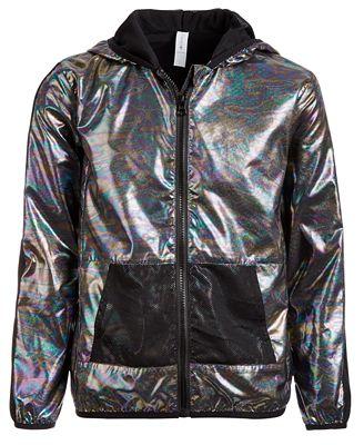 Ideology Toddler Girls Hooded Metallic & Mesh Windbreaker Jacket, Created for Macy's $23
