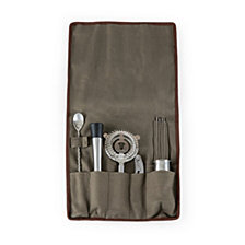Picnic Time Bar Tools Set 14 pieces in Waxed Canvas Roll Tote, (Grey)