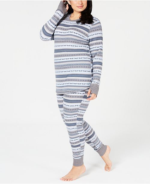 e74340a89ff Cuddl Duds Plus Size Crew-Neck Waffle Thermal Top   Leggings ...