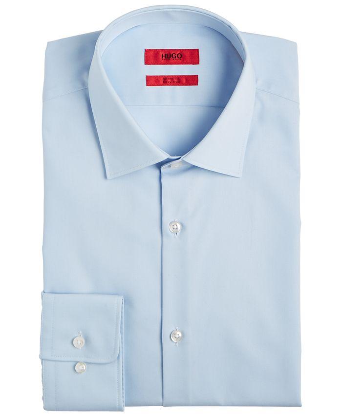 Hugo Boss - Men's Slim-Fit Light Blue Solid Dress Shirt