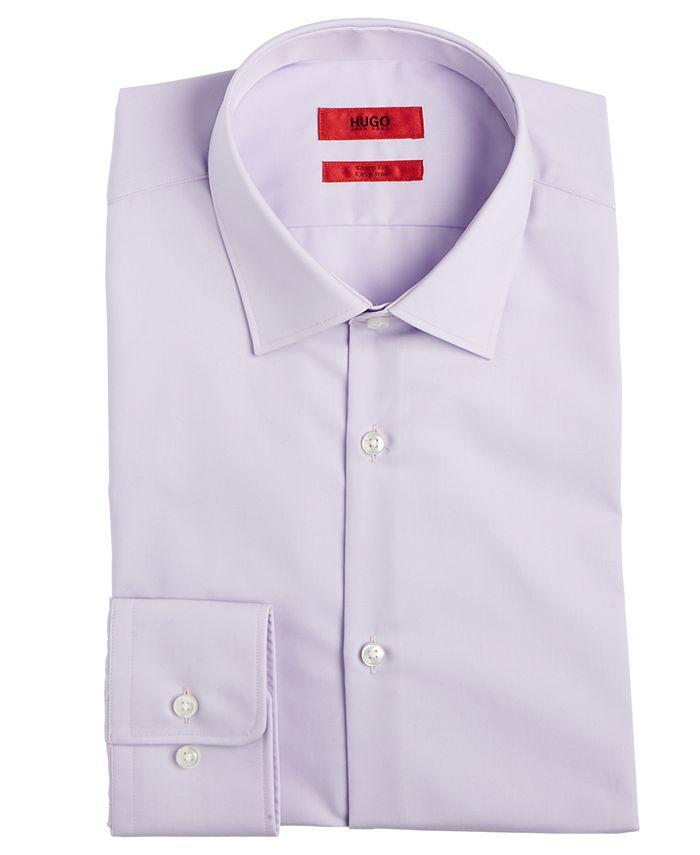 Hugo Boss - Men's Slim-Fit Light Purple Solid Dress Shirt
