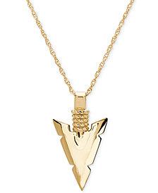 "Men's Spear Head 24"" Pendant Necklace in 10k Gold"