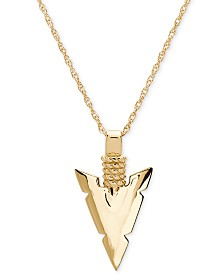 "Men's Spear Head 24"" Pendant Necklace in 10k Gold"