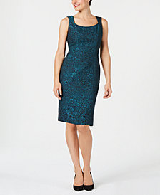 Kasper Animal-Print Jacquard Sheath Dress