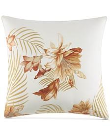 "Tommy Bahama Home Loredo Gardens Cotton Medium Orange 20"" Square Decorative Pillow"