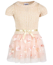 Blueberi Boulevard Little Girls Embroidered Sweater Dress