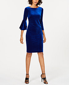 Calvin Klein Bell-Sleeve Velvet Dress