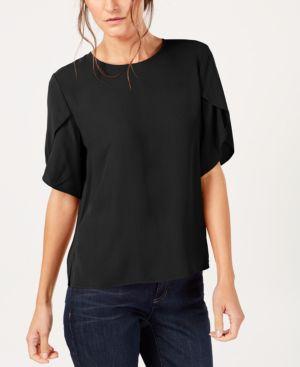 Tulip-Sleeve Silk Georgette Top, Black