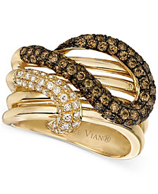 Le Vian Chocolatier® Brown Diamond and White Diamond Twist Ring (1-1/6 ct. t.w.) in 14k Gold