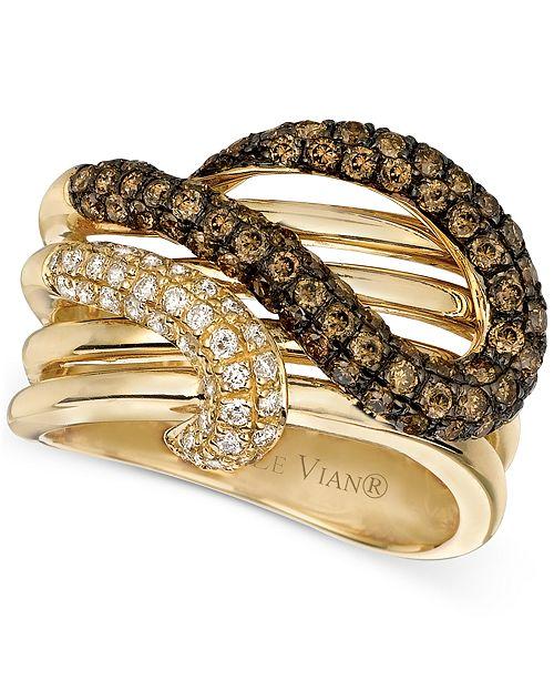 Le Vian Chocolatier® Brown Diamond and White Diamond Twist Ring (1-1/6 ct. t.w.) in 14k Gold