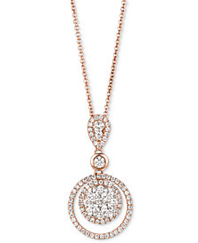 "Le Vian® Diamond Circle 18"" Pendant Necklace (7/8 ct. t.w.) in 14k Rose Gold"