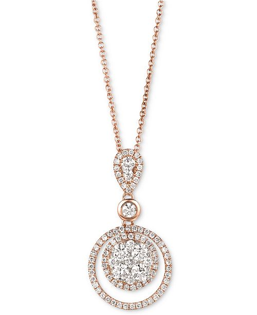 "Le Vian Diamond Circle 18"" Pendant Necklace (7/8 ct. t.w.) in 14k Rose Gold"