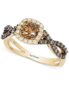 Chocolatier® Diamond Halo Ring (7/8 ct. t.w.) in 14k Gold