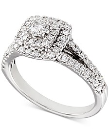 Diamond Double Halo Engagement Ring (3/4 ct. t.w.) in 14k White Gold