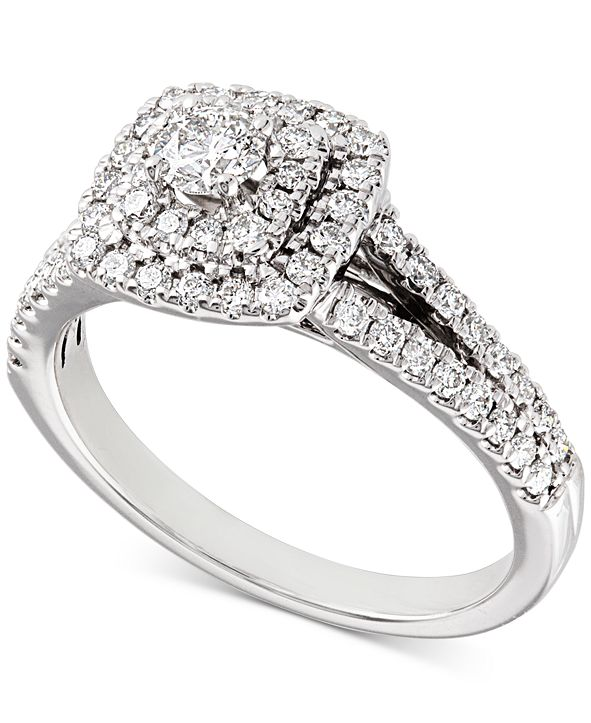 Macy's Diamond Double Halo Engagement Ring (3/4 ct. t.w.) in 14k White Gold