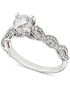 Certified Diamond Woven Engagement Ring (1-1/6 ct. t.w.) in 18k White Gold, Created for Macy's
