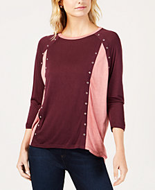 MICHAEL Michael Kors Embellished Colorblocked Top in Regular & Petite Sizes