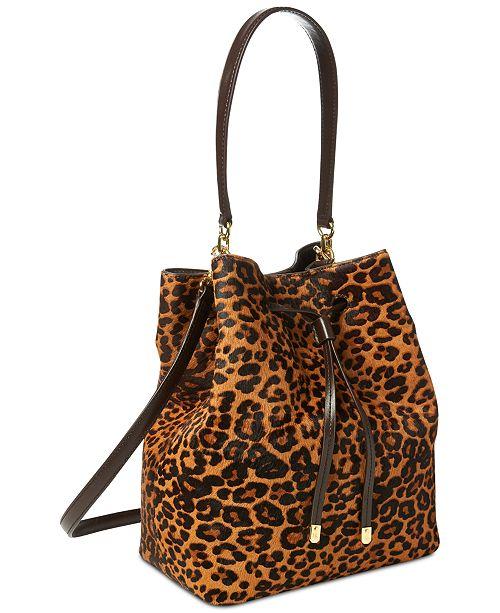 Lauren Ralph Calf Hair Leopard Debby Drawstring Bag Handbags Accessories Macy S