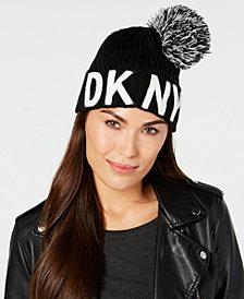 DKNY Logo-Patch Pom Pom Beanie, Created for Macy's
