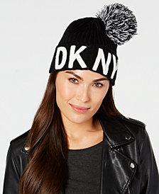DKNY Logo-Patch Pom Pom Beanie, Created for Macy's