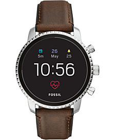 Fossil Q Men's Explorist HR Brown Leather Strap Touchscreen Smart Watch 45mm