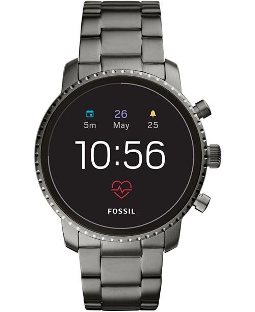 379d6fa03a1e ... Fossil New Q Men s Explorist Gen 4 HR Smoke Stainless Steel Bracelet  Touchscreen Smart Watch ...