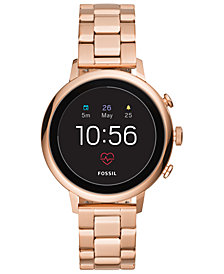 Fossil Q Women's Venture HR Rose Gold-Tone Stainless Steel Bracelet Touchscreen Smart Watch 40mm