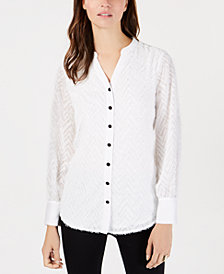 Alfani Fringed Split-Neckline Shirt, Created for Macy's