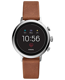 Fossil New Q Women's Venture Gen 4 HR Brown Leather Strap Touchscreen Smart Watch 40mm