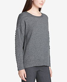 Calvin Klein Braided-Sleeve Drop-Shoulder Sweater