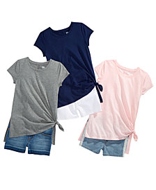 Epic Threads Big Girls Side-Tie T-Shirts & Denim Shorts Separates, Created for Macy's
