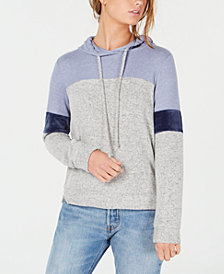 Hippie Rose Juniors' Colorblocked Velvet-Trimmed Hoodie