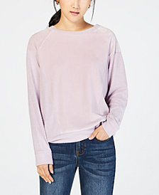 Hippie Rose Juniors' Velvet Raglan Sweatshirt