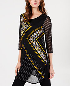 Alfani Petite Printed Mesh Tunic, Created for Macy's