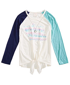 Belle Du Jour Big Girls 2-Pc. Tie-Front Raglan T-Shirt & Necklace Set