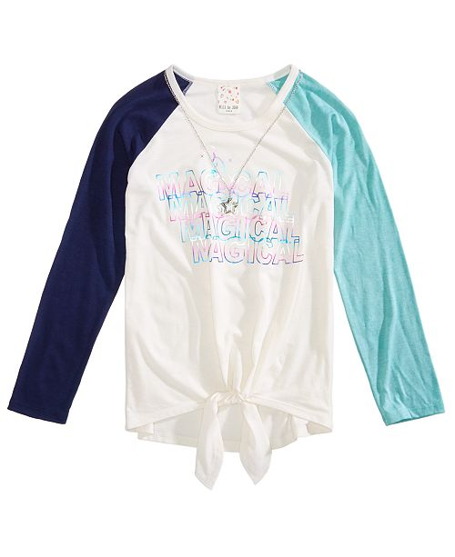 Big Girls 2-Pc. Tie-Front Raglan T-Shirt & Necklace Set