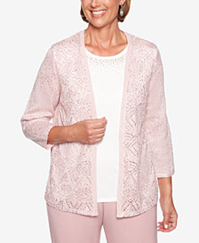 Alfred Dunner Petite Home For The Holidays Embellished Layered-Look Top