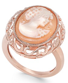 Cornelian shell and Agate Madonna Cameo Ring in 14k Rose Gold