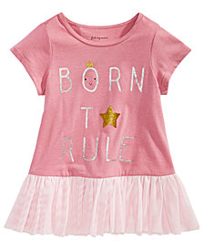 First Impressions Toddler Girls Rule-Print Cotton Peplum Top, Created for Macy's