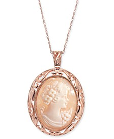 "Cornelian Shell and Agate Madonna Cameo 18"" Pendant Necklace in 14k Rose Gold"