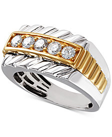 Men's Diamond Two-Tone Ring (3/4 ct. t.w.) in 10k Gold & White Gold