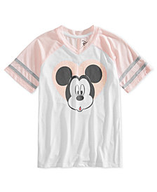 Disney Big Girls Glitter Mickey V-Neck Shirt