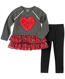 Kids Headquarters Little Girls 2-Pc. Heart Tunic & Leggings Set