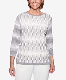 Alfred Dunner Petite Stocking Stuffers Cable-Knit Embellished Sweater