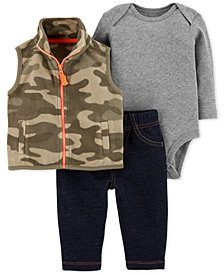 Carter's Baby Boys 3-Pc. Fleece Vest, Bodysuit & Leggings Set