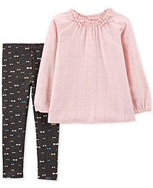 Carter's Baby Girls 2-Pc. Flannel Top & Bow-Print Leggings Set