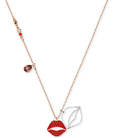 "Swarovski Two-Tone Crystal Lip Pendant Necklace, 14-4/5"" + 3"" extender"