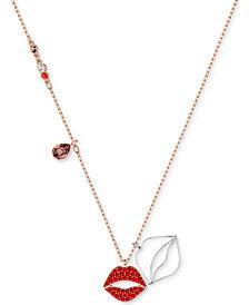 "Swarovski Two-Tone Crystal Lip Pendant Necklace, 14-4/5"" + 3"" extender"